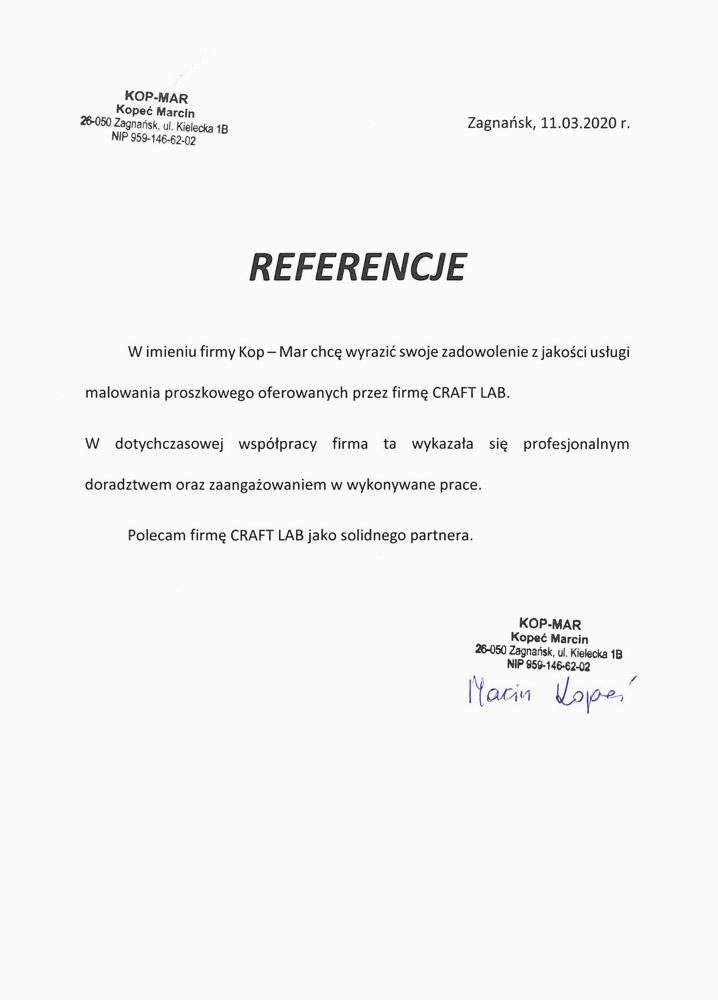 Referencje KOP-MAR